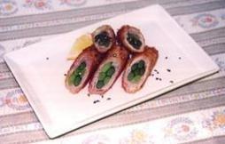 ニンニクの芽の豚肉巻きフライ